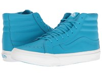Vans Sk8 Hi Slim Neon Leather Neon Blue True White Skate Shoes
