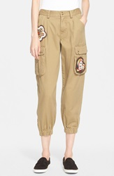 Red Valentino Embellished Cotton Twill Cargo Pants Oliva