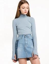 Pixie Market Pale Blue Ribbed Long Sleeve Top