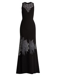 Elie Saab Lace Insert Belted Crepe Gown Black