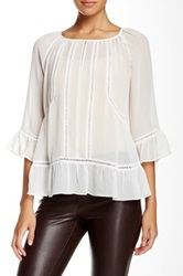 Vince Camuto 3 4 Sleeve Peasant Blouse White