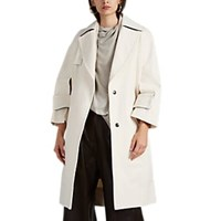 Narciso Rodriguez Cutout Detailed Cotton Twill Trench Coat Natural