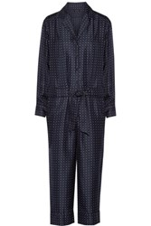 Rag And Bone Arthur Polka Dot Silk Twill Jumpsuit Midnight Blue