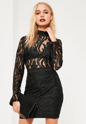 Missguided Black Lace Top Bodycon Dress