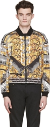 Versus Black And Gold Signature Print Jacket