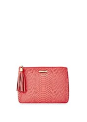 Gigi New York All In One Personalized Embossed Leather Clutch Orange