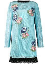 House Of Holland Embroidered Mesh Dress Women Cotton Polyester 12 Blue