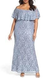 Marina Plus Size Women's Off The Shoulder Ruffle Sequin Lace Gown Cornflower