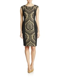 Donna Morgan Lace Trimmed Cocktail Sheath Black Champagne