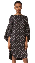 Hellessy Leana Dandelion Print Dress Black Gold Red