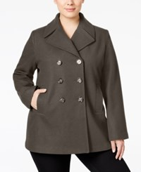 Kenneth Cole Plus Size Double Breasted Peacoat Only At Macy's Coffee