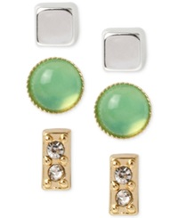 Kenneth Cole New York Crystal Green Stone And Square Stud Earring Set