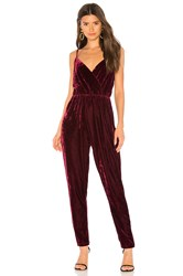 Cupcakes And Cashmere Cameo Velvet Jumpsuit Wine