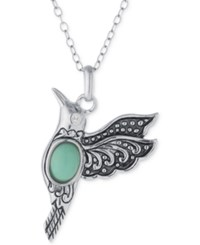 Macy's Manufactured Turquoise Hummingbird Necklace In Sterling Silver