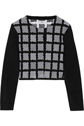 Issa Millie Cropped Stretch Jacquard Cardigan Black