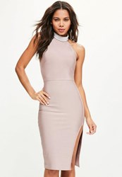 Missguided Pink Pearl High Neck Front Split Midi Dress