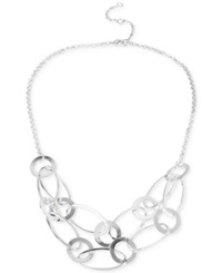 Touch Of Silver Frontal Link Necklace In Silver Plated Metal