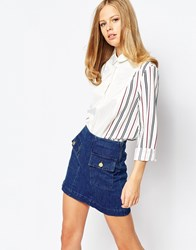 The Laden Showroom X Even Vintage Shirt With Contrast Stripe Sleeves White