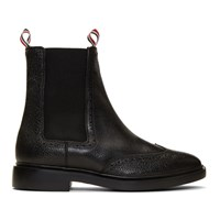 Thom Browne Black Brogued Chelsea Boots