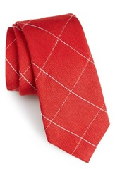 Calibrate Men's Candler Grid Linen And Silk Tie Red