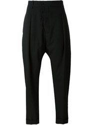 Masnada Drop Crotch Tapered Trousers Black