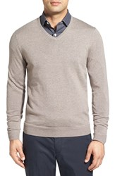 John W. Nordstromr Men's Big And Tall Nordstrom Merino Wool V Neck Sweater Tan Dusk
