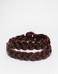 Polo Ralph Lauren Buckle Leather Bracelet Brown