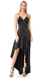 Jonathan Simkhai Silk High Low Gown Black