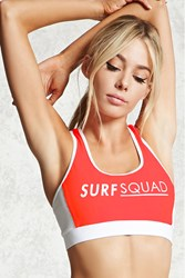 Forever 21 Surf Squad Swim Top Coral White