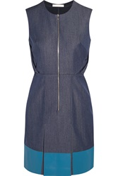 Richard Nicoll Leather Paneled Denim Dress