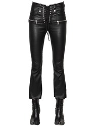 Unravel Laced Cropped Stretch Leather Pants