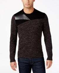 Inc International Concepts Men's Mixed Media Faux Leather Trim Sweater Only At Macy's Deep Black