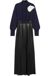 A.W.A.K.E. Jellyfish Crepe And Faux Leather Maxi Dress Navy