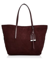 Botkier Madison Suede Tote Wine Red Silver