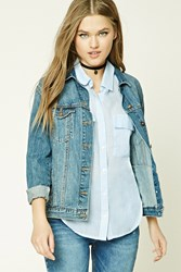 Forever 21 Pinstripe Button Front Shirt Cream Blue
