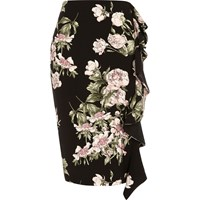 River Island Womens Black Floral Print Frill Pencil Skirt