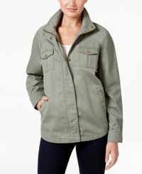 Style And Co Petite Cotton Embroidered Back Utility Jacket Only At Macy's Morroccan Roses