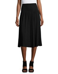 Lord And Taylor Petite Solid Smocked Skirt Black