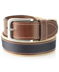 Tommy Hilfiger Canvas Casual Belt Khaki Brown Navy