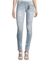 Robin's Jeans Marilyn Distressed Studded Denim Light Blue