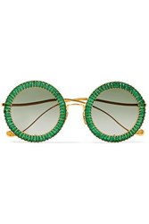 Anna Karin Karlsson Magic You Crystal Embellished Round Frame Gold Plated Sunglasses Green