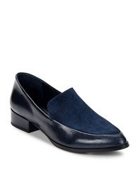 424 Fifth Verona Leather And Suede Loafers Dark Navy