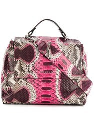 Orciani Snakeskin Effect Tote Pink And Purple