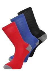 Hummel Nostalgia 3 Pack Sports Socks Black Surf The Web Scarlet