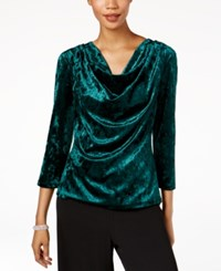 Msk Cowl Neck Velvet Blouse Hunter