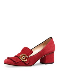 Gucci Marmont Fringe Suede 55Mm Loafer Pump Red