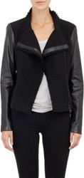 Vince Tweed And Leather Moto Jacket Black
