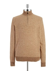 Black Brown Lambswool Zipper Placket Sweater Mushroom Tan