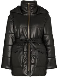 Nanushka Lenox Hooded Vegan Leather Puffer Jacket Black
