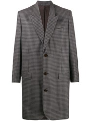 Martine Rose Single Breasted Check Coat Grey
